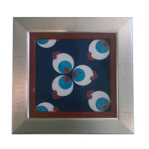 Ceramic Glazed Tile with Silver Wooden Frame